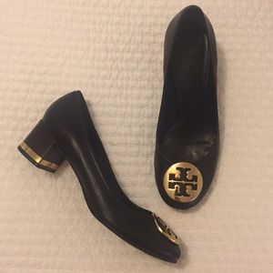 Tory Burch Block Heel - Black and Gold